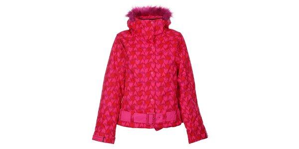 Dámska ružová snowboardová bunda Envy so srdiečkami