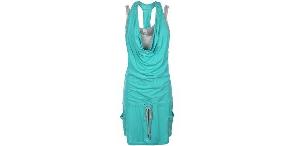Dámske tyrkysové šaty so šedým tielkom Bench