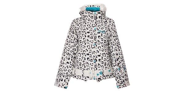 Dámska biela snowboardová bunda Envy s leopardím vzorom
