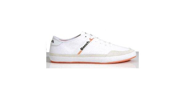 Pánske biele tenisky s oranžovou podrážkou Bench