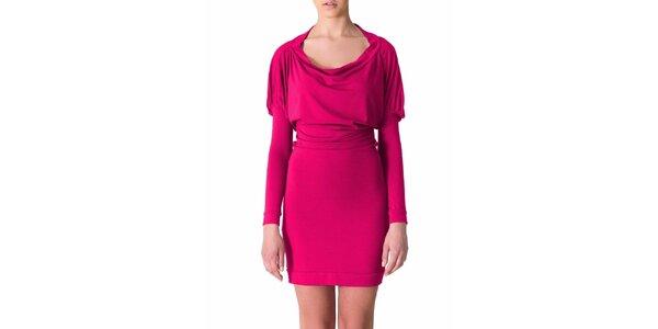Dámske čerešňovo-ružové šaty s riasenými rukávmi Yuliya Babich