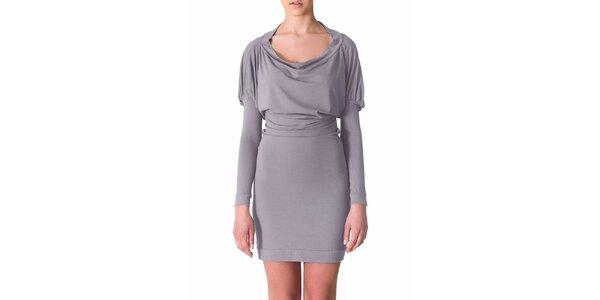 Dámske svetlo šedé šaty s riasenými rukávmi Yuliya Babich