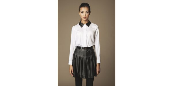 Dámska biela košeľa s čiernym límčekom Ambigante