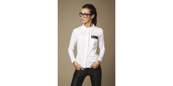 Dámska biela košeľa s páskou na hrudi Ambigante