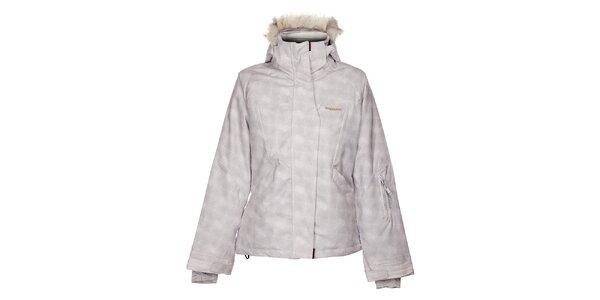 Dámska biela lyžiarska bunda Envy s šedivou potlačou a kožúškom