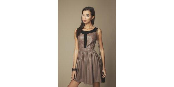 Dámske hnedé koženkové šaty Ambigante