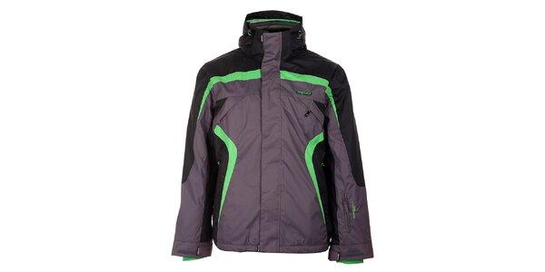 Pánska šedo-čierna lyžiarska bunda Envy so zelenými detailami