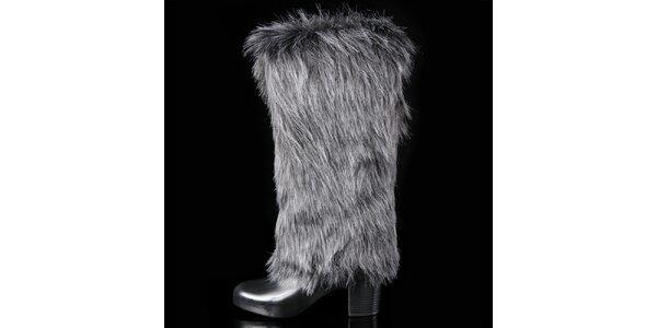 Dámske čierno-šedé chlpaté čižmy Melissa