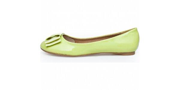 Dámske pastelovo zelené lakované baleríny Sofia Loes s mašľou