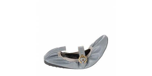 Dámske modro-šedé elastické baleríny Naf Naf s kovovou sponou