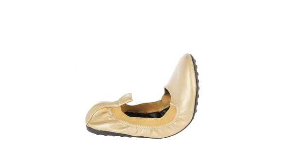 Dámske zlaté elastické baleríny Naf Naf