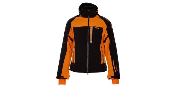 Pánska čierna zimná softshellová bunda s oranžovými detailami