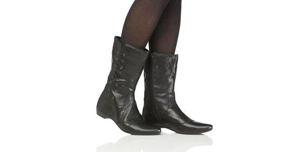 Dámske čierne kotníkové topánky Toscania s ozdobným šnurovaním