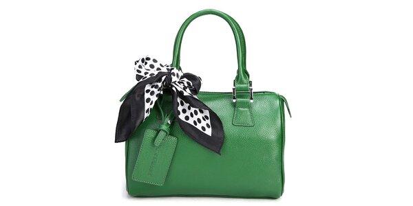 Trávovo zelená kabelka Belle&Bloom s ozdobnou šatkou