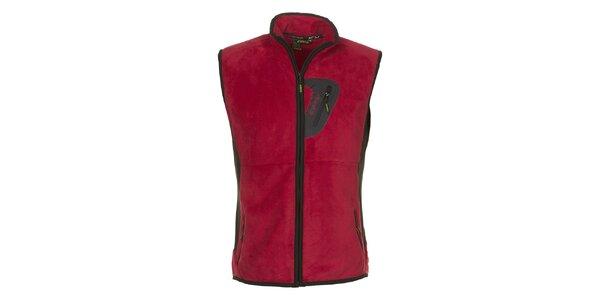 Pánska červená fleecová vesta E2KO