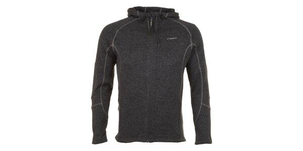 Pánska šedo melírovaná fleecová bunda E2KO