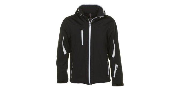 Pánska čierna softshellová bunda s bielymi lemami E2KO