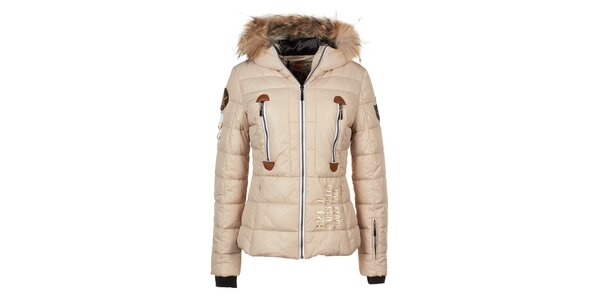Dámska béžová bunda s prešívaním a líščou kožušinou na kapucni E2KO