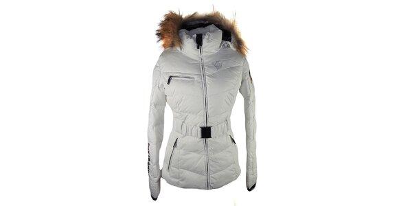 Dámska biela prešívaná bunda s líščou kožušinou na kapucni E2KO