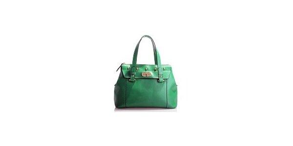 Dámska zelená kožená kabelka Belle & Bloom