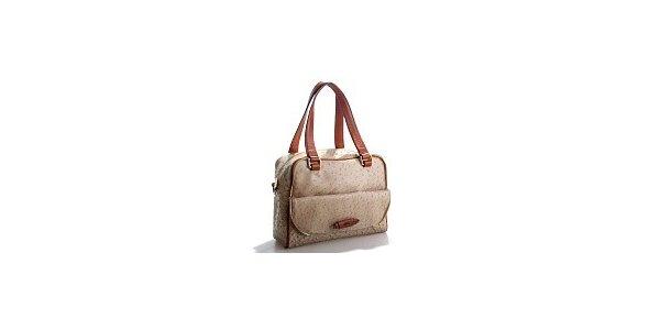 Dámska béžová kabelka Belle & Bloom v efekte pštrosoj kože