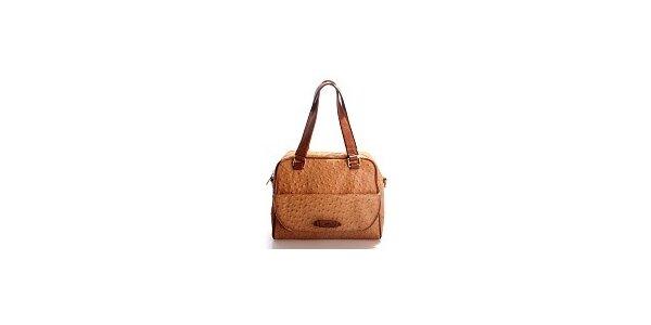 Dámska hnedo-oranžová kabelka Belle & Bloom v efekte pštrosoj kože