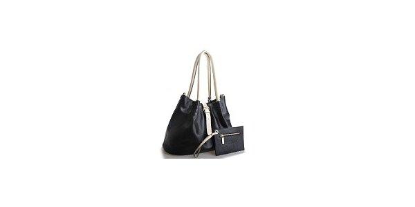 Dámska čierna kožená kabelka Belle & Bloom s béžovými ušami