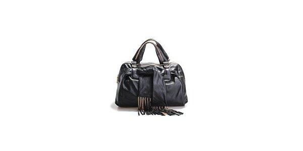 Dámska čierna kožená kabelka Belle & Bloom so zlatými retiazkami a šálou