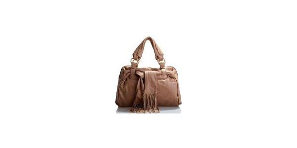 Dámska svetlo hnedá kožená kabelka Belle & Bloom so zlatými retiazkami a šálou