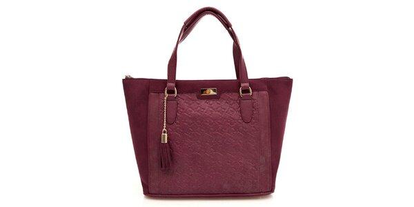 Dámska vínová kabelka so strapcom Paris Hilton