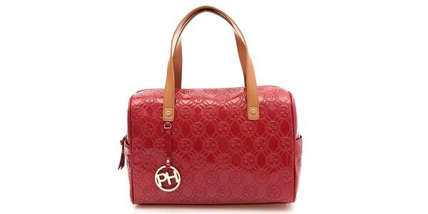 Dámska červená lesklá kufríková kabelka Paris Hilton