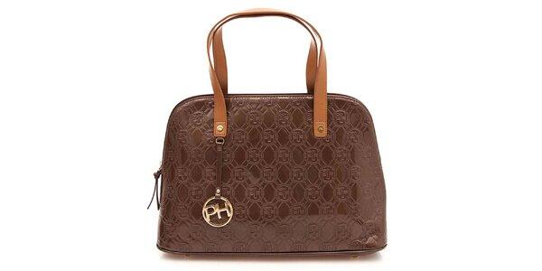 Dámska hnedá lesklá vzorovaná kabelka na zips Paris Hilton