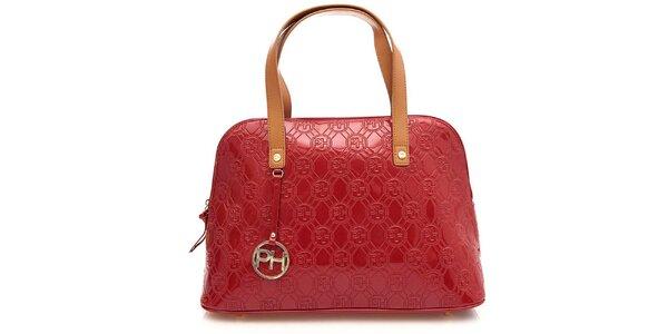 Dámska červená lesklá vzorovaná kabelka na zips Paris Hilton