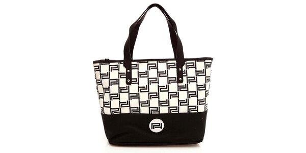 Dámska čierno-biela kabelka s pevnými ušami Paris Hilton