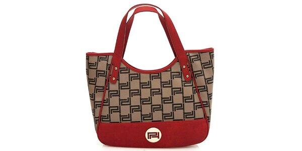 Dámska červeno-šedá vzorovaná kabelka Paris Hilton