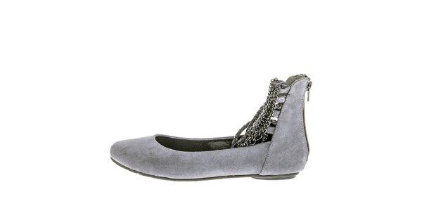 Dámske šedé topánky s retiazkami 1to3