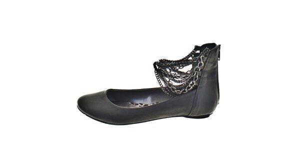 Dámske čierne topánky s retiazkami 1to3