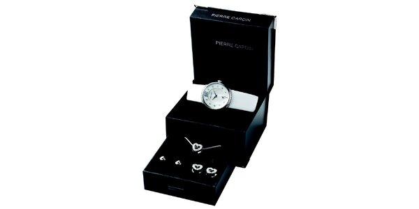 Dámska sada skvostných hodiniek, retiazky a dvoch párov náušnic Pierre Cardin