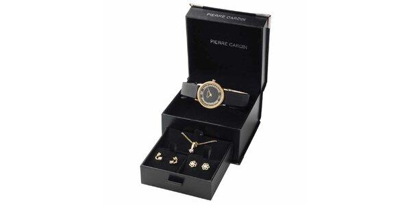 Dámska pozlátená sada hodiniek, náhrdelníku a dvoch párov náušnic Pierre Cardin