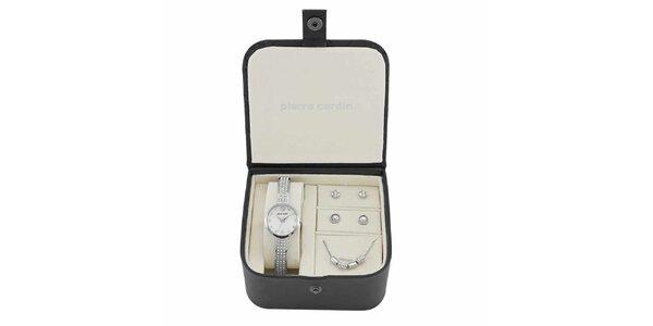 Dámska sada hodiniek, náhrdelníku a dvoch párov náušnic v striebornej farbe…