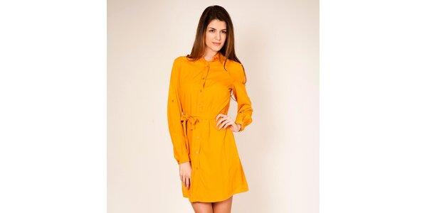 Dámske horčicové košeľové šaty Tantra