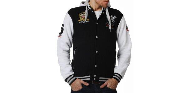 Pánsky čiernobiely rozopínací sveter s kapucňou Geographical Norway