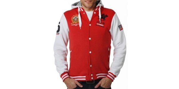 Pánsky červenobiely rozopínací sveter s kapucňou Geographical Norway