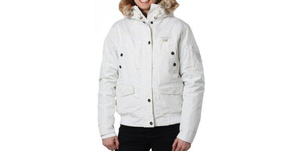 Dámska biela bunda s kapucňou Geographical Norway