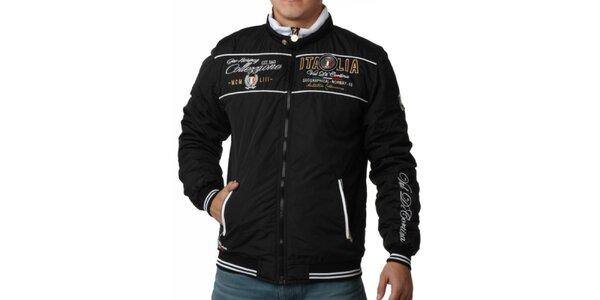 Pánska čierna bunda s výšivkami Geographical Norway