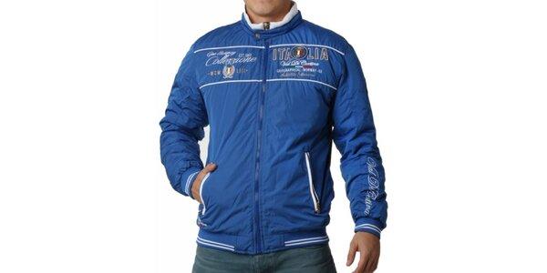 Pánska modrá bunda s výšivkami Geographical Norway