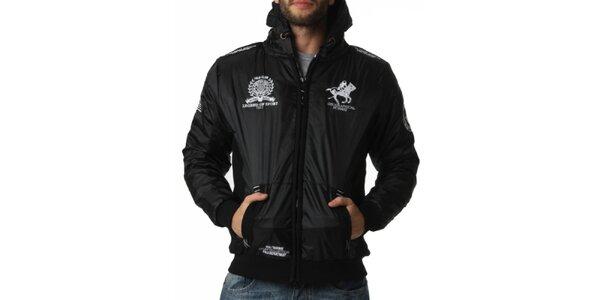 Pánska čierna bunda s kapucňou a dekoratívnymi prvkami Geographical Norway