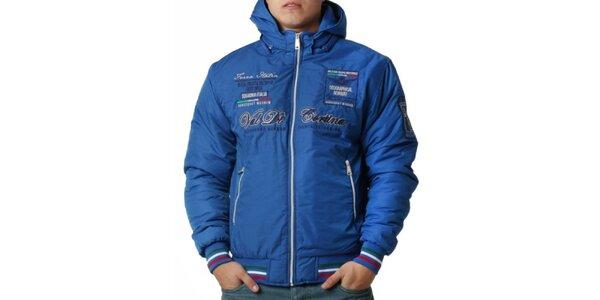Pánska modrá bunda s kapucňou a radou výšiviek Geographical Norway