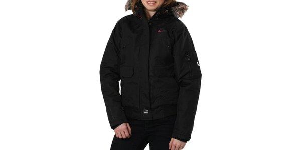 Dámska čierna bunda s kožušinkovým límcom Geographical Norway