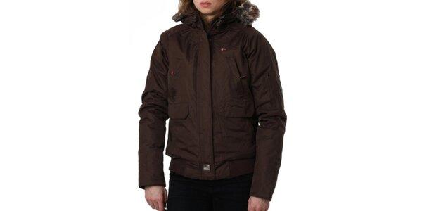 Dámska hnedá bunda s kožušinkovým límcom Geographical Norway